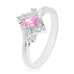 Inel de culoare argintie cu braţe cu crestături, zirconiu oval roz, zirconii transparente - Marime inel: 52 imagine