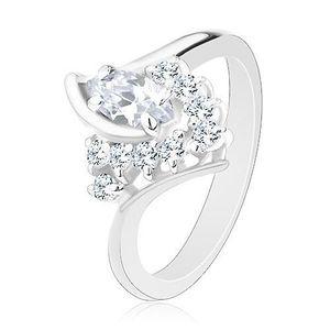 Inel lucios de culoare argintie, braţe curbate, zirconii transparente - Marime inel: 49 imagine