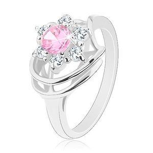 Inel de culoare argintie, zirconiu roz deschis în formă de floare, arcade strălucitoare - Marime inel: 49 imagine