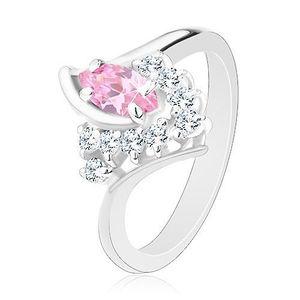 Inel de culoare argintie cu braţe îndoite, zirconii roz-transparente - Marime inel: 49 imagine