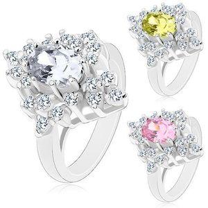 Inel de culoare argintie, zirconiu strălucitor cu suprafață lucioasă - Marime inel: 49, Culoare: Transparent imagine