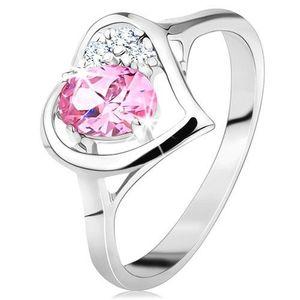 Inel de culoare argintie, contur în formă de inimă cu un zirconiu oval roz și cu zirconii transparente - Marime inel: 49 imagine