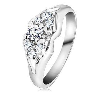 Inel strălucitor de culoare argintie, zirconii transparente, braţe despicate - Marime inel: 48 imagine