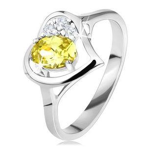 Inel strălucitor cu contur inimă, zirconiu verde în formă ovală, trei zirconii transparente - Marime inel: 49 imagine