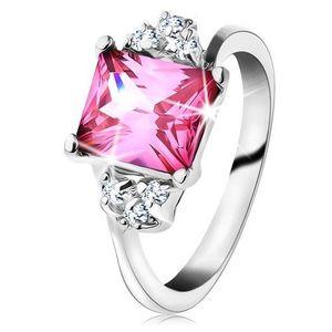 Inel strălucitor de culoare argintie, zirconiu dreptunghiular de culoare roz - Marime inel: 49 imagine
