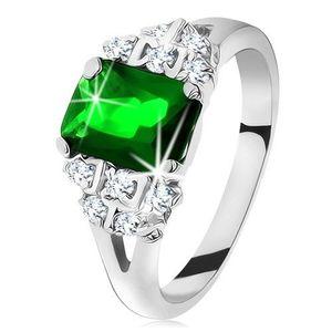 Inel strălucitor de culoare argintie, zirconiu verde-smarald, brațe despicate - Marime inel: 49 imagine