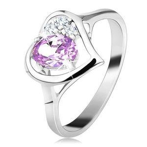 Inel lucios de culoare argintie cu contur inimă, zirconiu oval violet rotund - Marime inel: 49 imagine