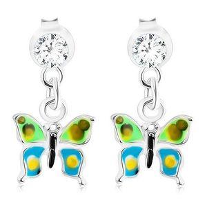 Cercei din argint 925, smalț verde albastru, fluture punctat, cristal imagine