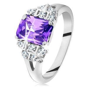 Inel de culoare argintie, zirconiu violet, zirconii strălucitoare, transparente - Marime inel: 49 imagine