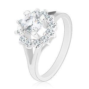 Inel cu braţe lucioase, despicate, floare din zirconiu transparent, strălucitor - Marime inel: 48 imagine