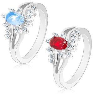 Inel lucios de culoare argintie cu braţe despicate, zirconii strălucitoare - Marime inel: 52, Culoare: Albastru Deschis imagine