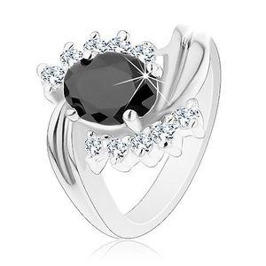 Inel de culoare argintie cu brațe curbate, zirconii transparente, zirconiu negru oval - Marime inel: 49 imagine