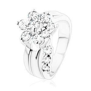 Inel de culoare argintie, floare strălucitoare din zirconii transparente, braţe despicate - Marime inel: 49 imagine