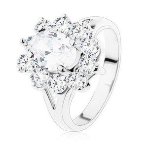 Inel lucios de culoare argintie, brațe despicate și zirconii transparente - Marime inel: 49 imagine