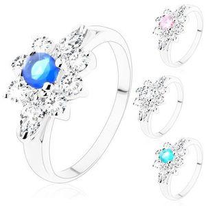 Inel de culoare argintie, zirconii rotunde în formă de bob - Marime inel: 49, Culoare: Transparent imagine