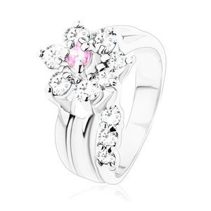 Inel cu braţe netede, floare din zirconii roz şi transparente - Marime inel: 49 imagine