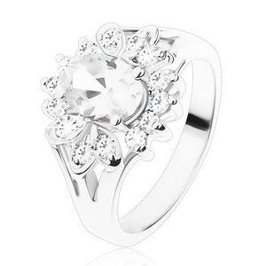 Inel de culoare argintie cu braţe despicate, zirconii transparente - Marime inel: 49 imagine