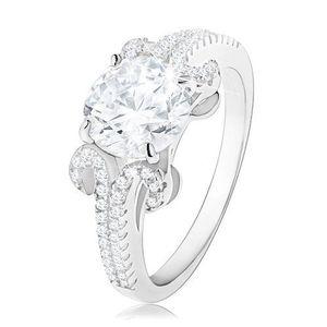 Inel de logodnă din argint 925, zirconiu rotund de culoare transparentă, linii strălucitoare - Marime inel: 50 imagine