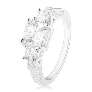 Inel de logodnă din argint 925, trei zirconii în formă pătrată, braţe împodobite - Marime inel: 49 imagine