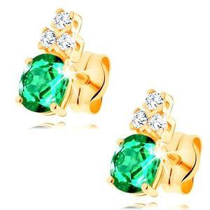 Cercei din aur galben de 14K - smarald verde oval, trei zirconii transparente imagine