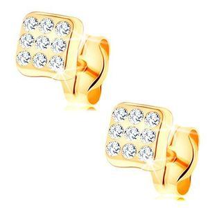 Cercei din aur galben de 14K - pătrat strălucitor, zirconii rotunde transparente imagine