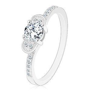 Inel de logodnă din argint 925 - fundiţă lucioasă formată din zirconii transparente - Marime inel: 48 imagine