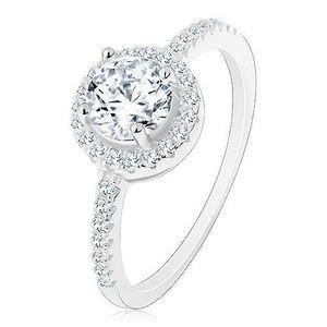 Inel din argint 925, zirconiu rotund, transparent cu margine transparentă, braţe decorate - Marime inel: 48 imagine