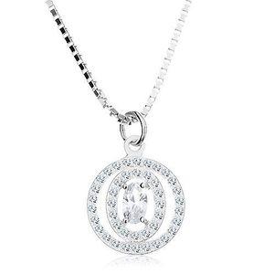 Colier din argint 925, zirconiu oval transparent în contur dublu imagine