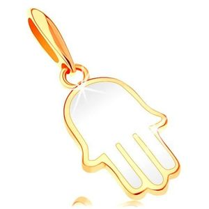 Pandantiv din aur 585 - mâna Fatimei acoperită cu email de culoare albă imagine