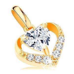 Pandantiv din aur galben de 14K - contur inimă cu zirconii, zirconiu transparent în formă de inimă imagine
