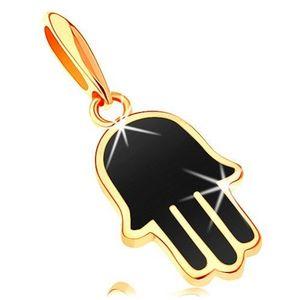 Pandantiv din aur galben de 14K - mână hamsa acoperită cu email negru imagine