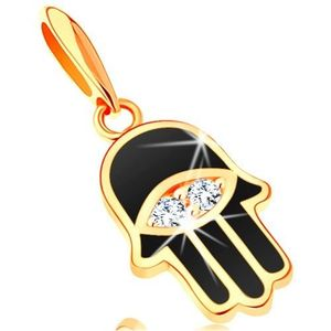 Pandantiv din aur galben de 14K - mâna Fatimei acoperită cu email negru, ochi imagine