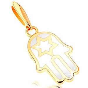 Pandantiv din aur 585 - mâna Fatimei acoperită cu email de culoare albă, stea imagine