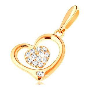 Pandantiv din aur 585 - contur inimă lucioasă cu inimă mică din zirconiu imagine