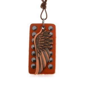 Colier din piele - aripă de înger de culoare arămie, bandă din piele cu capse imagine
