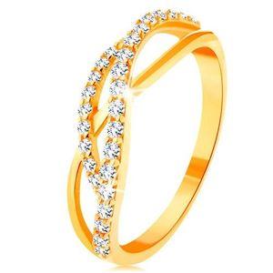 Inel din aur 585 - linii ondulate, împletite - una netedă şi două ondulate cu zirconii - Marime inel: 49 imagine