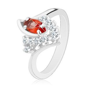 Inel cu braţe curbate, formă de bob, zirconii transparente - Marime inel: 49 imagine