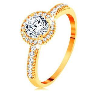 Inel din aur galben de 14K - zirconiu transparent înconjurat cu zirconii mici - Marime inel: 49 imagine