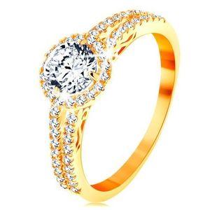 Inel din aur galben de 14K - zirconiu transparent cu margine strălucitoare, brațe decorate - Marime inel: 49 imagine