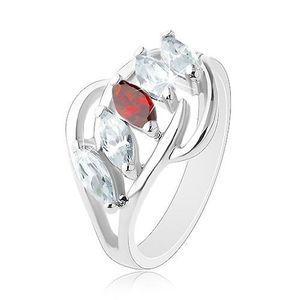 Inel cu brațe despicate, arcade lucioase, linie de zirconii în formă de bob transparente și de culoare roșie - Marime inel: 54 imagine