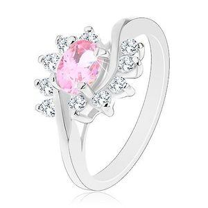 Inel de culoare argintie, zirconiu oval de culoare roz, arcade transparente - Marime inel: 51 imagine