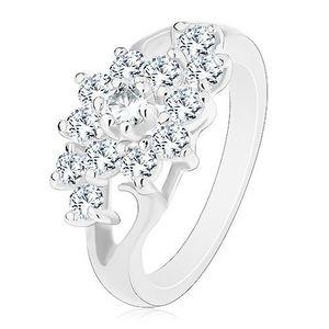 Inel de culoare argintie cu brațe despicate, floare din zirconii transparente - Marime inel: 49 imagine