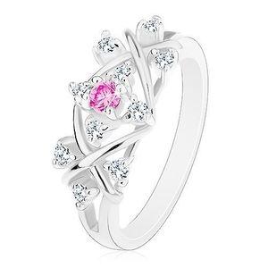 Inel de culoare argintie, linii lucioase încrucișate, zirconii transparente și de culoare roz - Marime inel: 56 imagine