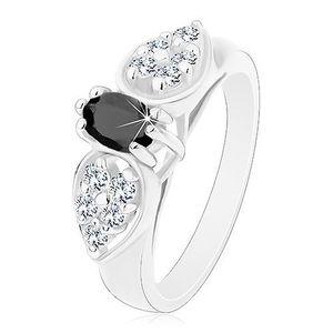 Inel lucios de culoare argintie, fundă lucioasă cu oval de culoare neagră - Marime inel: 52 imagine