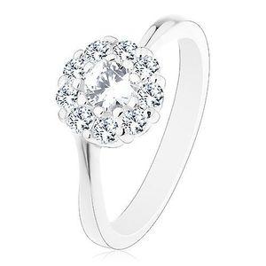 Inel lucios de culoare argintie, floare strălucitoare din zirconiu transparent - Marime inel: 49 imagine