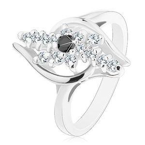 Inel de culoare argintie, linii din zirconiu transparent, zirconiu de culoare neagră în partea din mijloc - Marime inel: 49 imagine