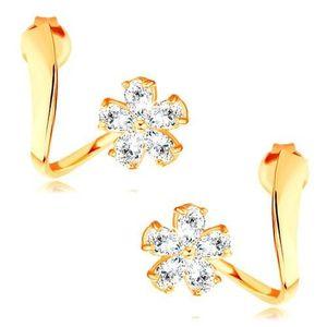 Cercei din aur galben de 14K - panglică ondulată, floare strălucitoare din zirconii imagine