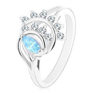 Inel de culoare argintie, formă de bob albastră, arcade din zirconiu transparent - Marime inel: 50 imagine