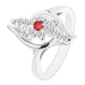 Inel de culoare argintie, linii din zirconiu transparent, zirconiu de culoare roșie în partea din mijloc - Marime inel: 54 imagine