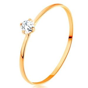 Inel din aur galben de 14K - brațe înguste, zirconiu rotund transparent - Marime inel: 49 imagine